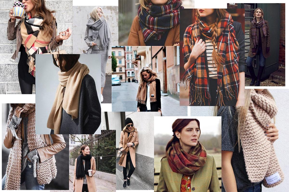 шарф оверсайз с пальто